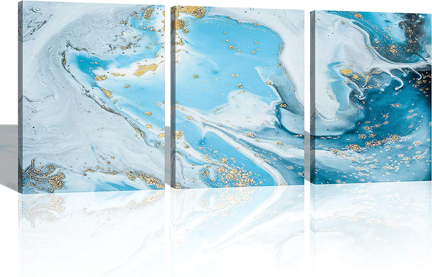 Oiney Sky Blue Abstract Canvs Wall Art 3 Panels Marble Modern Wall Art Decor for Home,Office,Hotel
