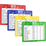SunnyKeto Keto Diet Cheat Sheet Quick Guide Fridge Magnet Reference Charts for Ketogenic Diet Foods - Including Meat & Nuts,
