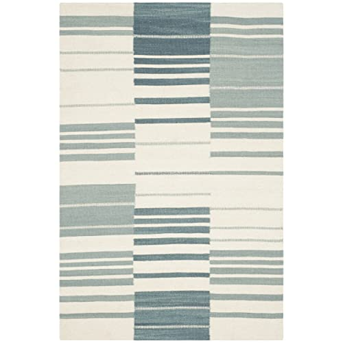 Safavieh Kilim Collection KLM953A Hand Woven Blue and Ivory Premium Wool Area Rug 4 x 6
