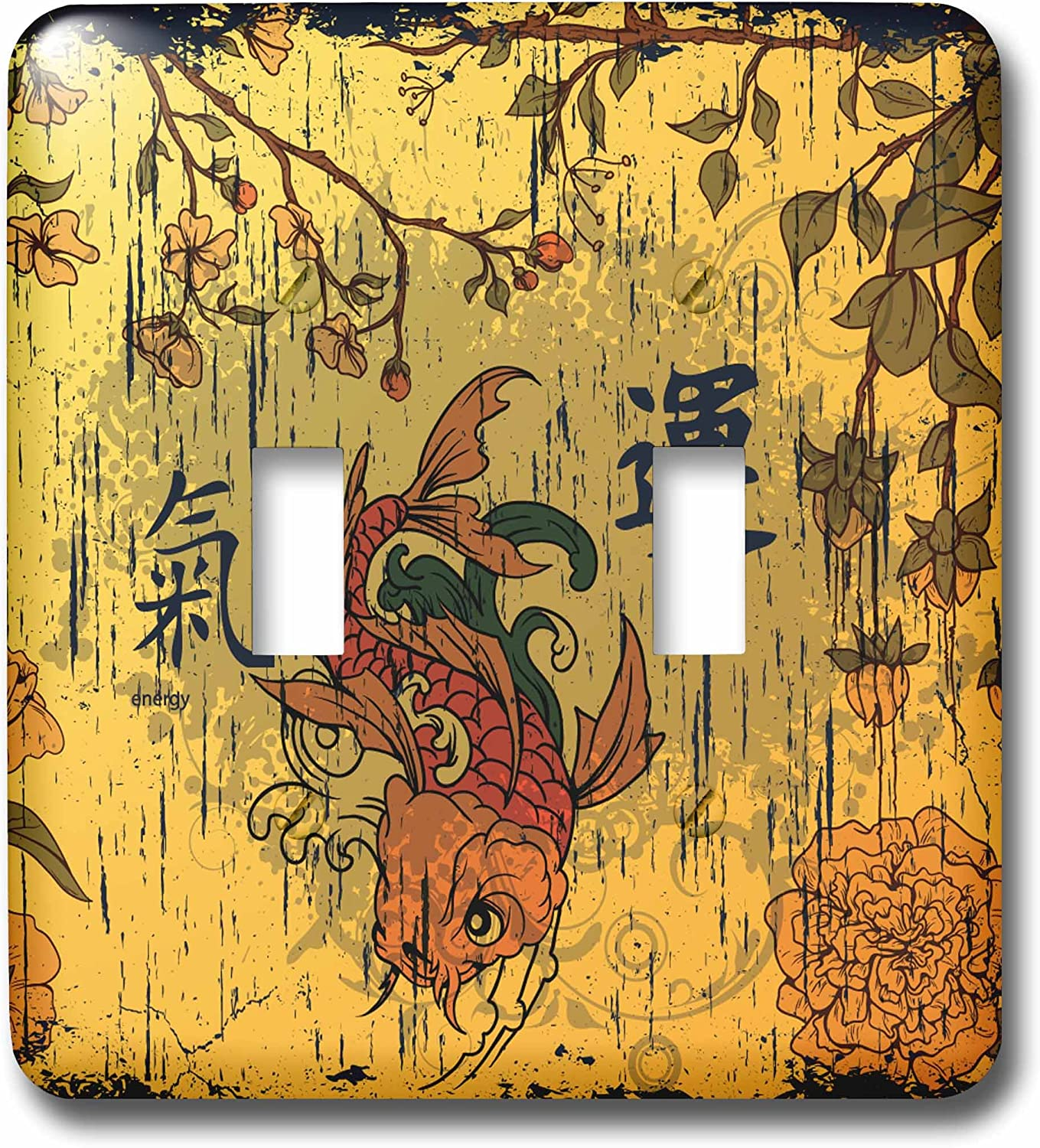 3drose Lsp 152971 2 A Orange And Red Oriental Fish With Oriental Writing Meaning Luck And Energy Double Toggle Switch Switch Plates Amazon Com