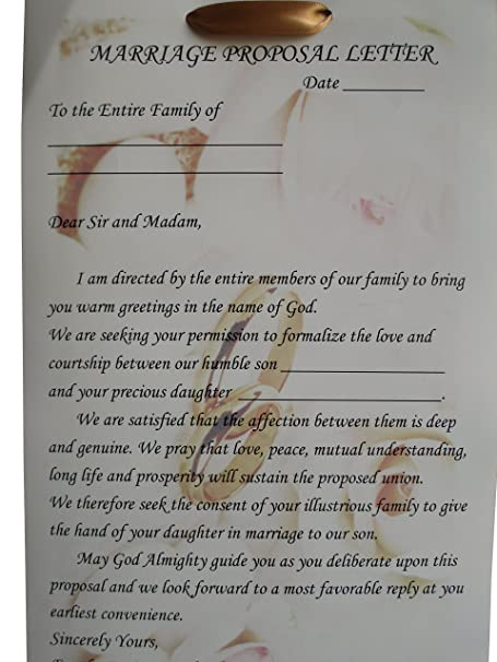 Traditional Yoruba Wedding Engagement Proposal Letter Official