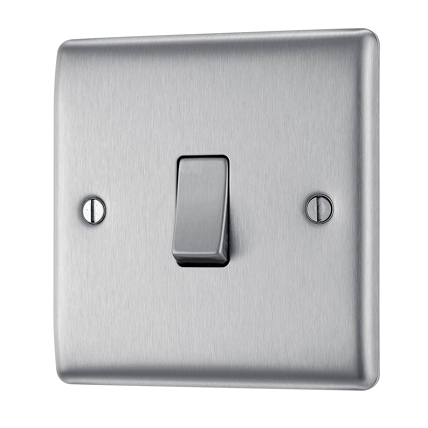 BG Electrical NBS12 10AX Single 2-Way Metal Brushed Steel Light ...