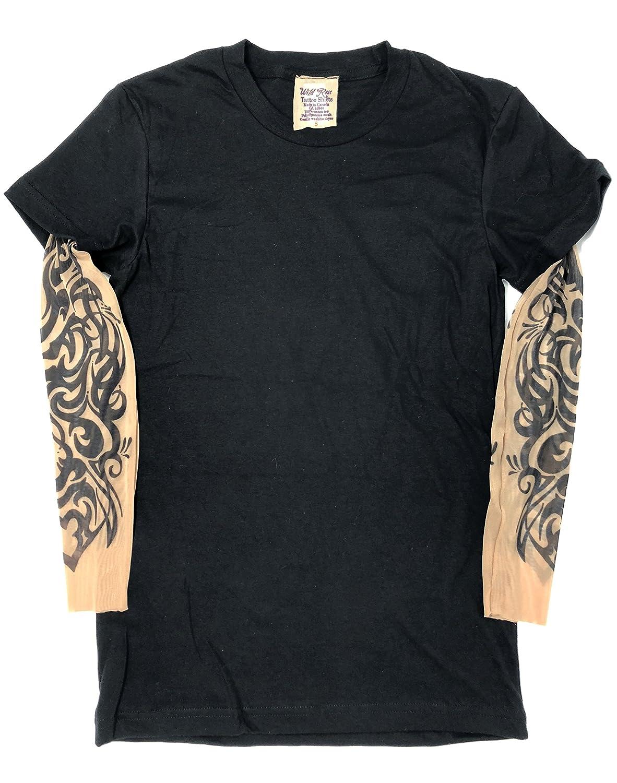 57001c03f Amazon.com: Wild Rose Ladies Tattoo Sleeve Shirt, Tribal, Black, Small:  Clothing