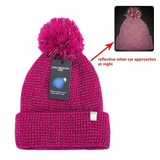 9d4d24c8d178 RSJewel Enhanced Visibility Reflective Cold Weather Beanie Hat with Cuff  One Size for Men, Women Or Kids