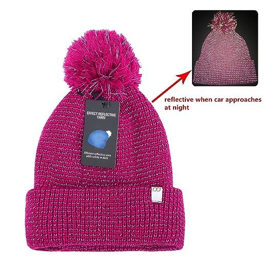 f860ac65521b9 Amazon.com  RSJewel Reflective Beanie Hat Enhanced Visibility Cold Weather  Running Beanie Cap One Size (Fuschia with Pom Pom)  Clothing
