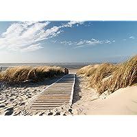 Fotobehang zee 366cm x 254cm inclusief lijm zee strand zon duinen brug Ocean Way Weg Oostzee Noordzee behang