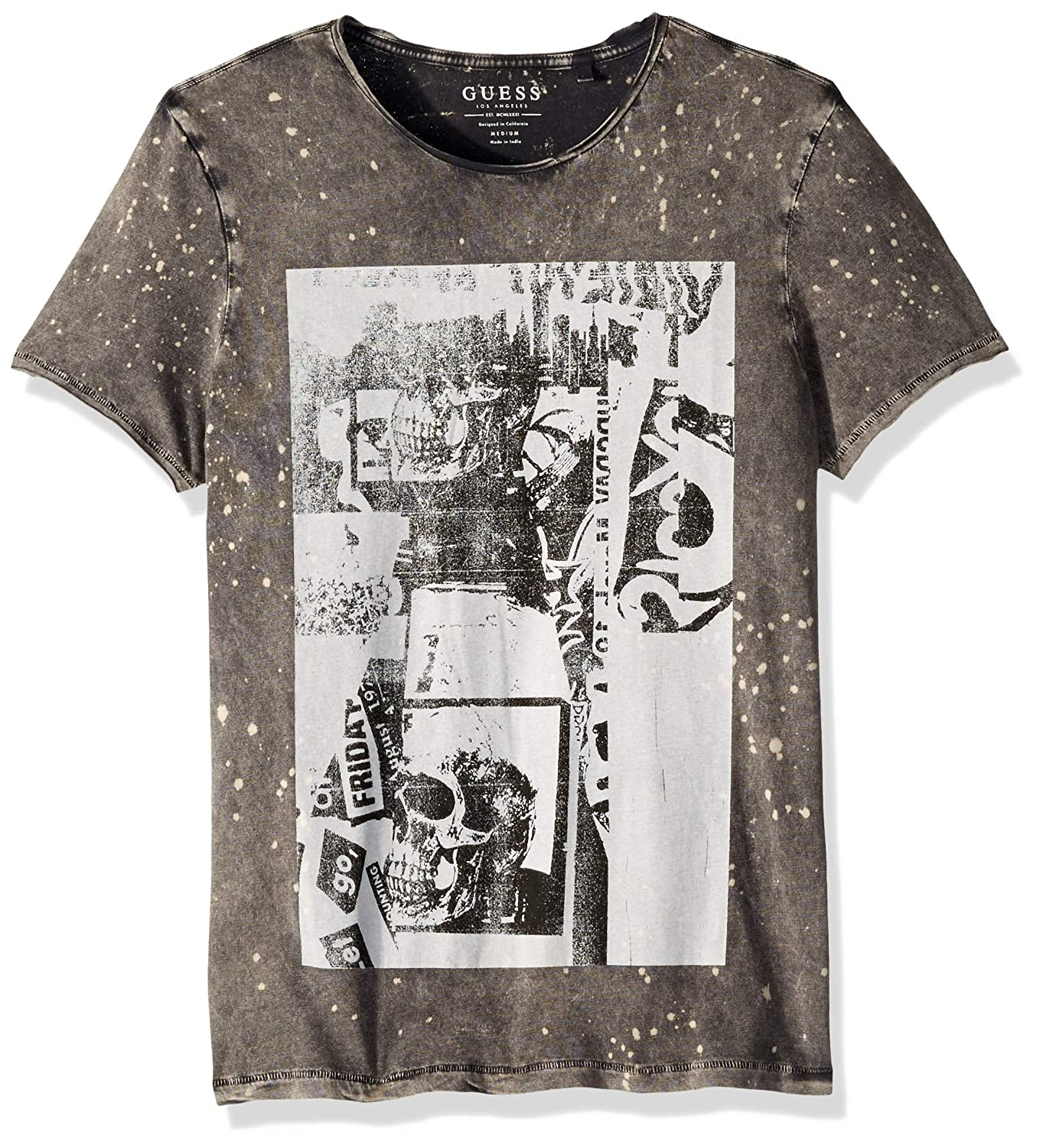 GUESS Mens Short Sleeve Acid Skulls Crew Neck T-Shirt