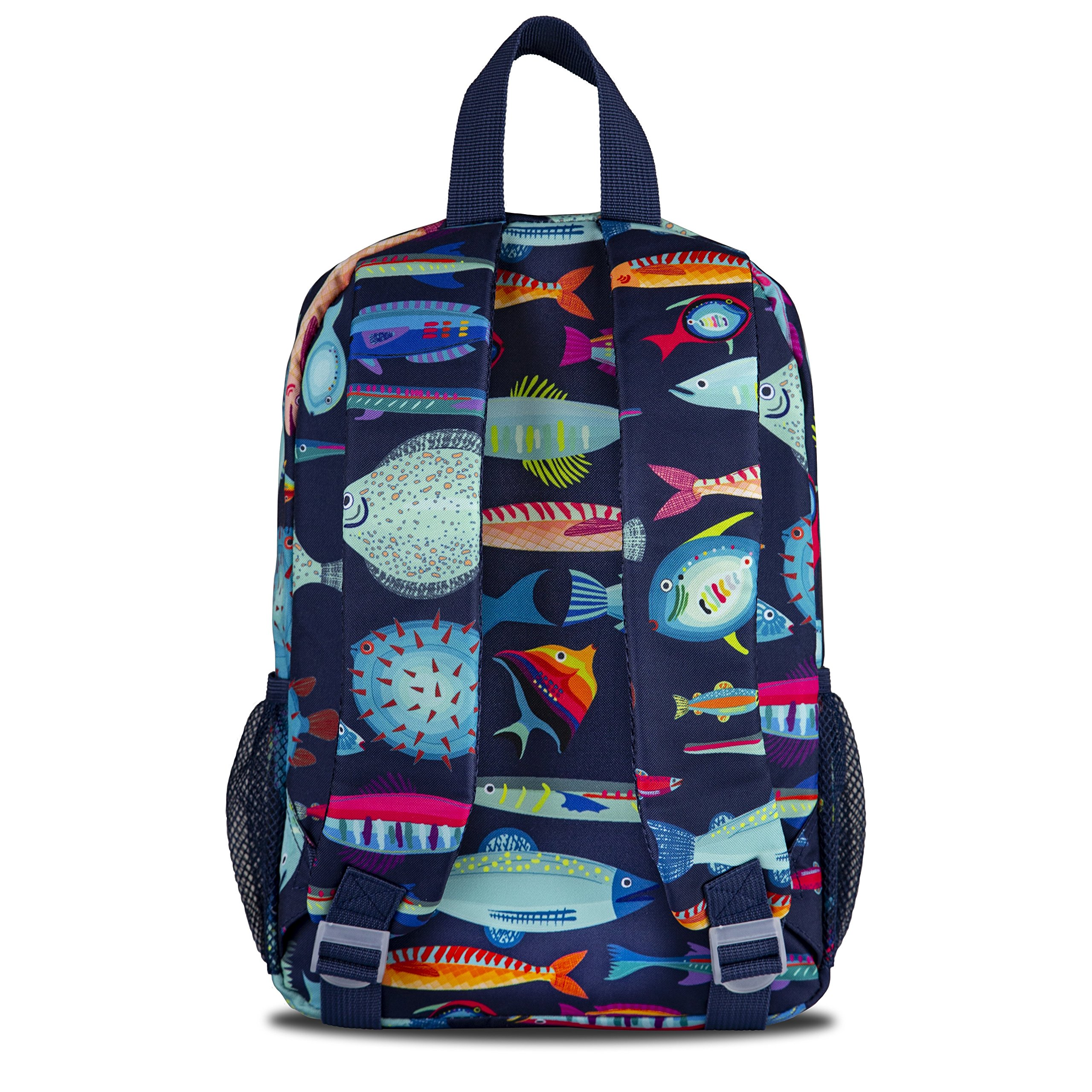 LONECONE Kids' Canvas Preschool Backpack - Integrated Tablet Sleeve, School of Fish by LONECONE (Image #3)