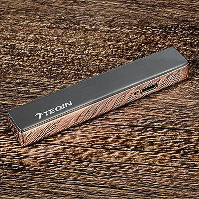 TEQIN Tungsten Ultra-mince Métal Ignition Coupe Vent Léger USB Rechargeable Nouveauté Charge Cigarette Briquets Electroniques Cigar Fumeurs