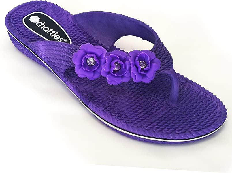 28f90465dbd3d7 Chatties Women s Floral Side Strap PCU Sandals with Mini Wedge - Purple (7 8
