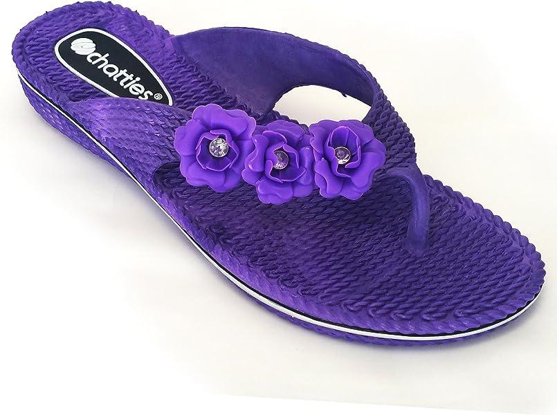 8111fab1fc27de Chatties Women s Floral Side Strap PCU Sandals with Mini Wedge - Purple (7 8