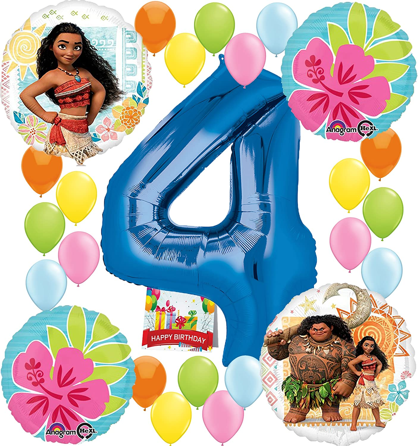 Amazon Moana Party Supplies Birthday Decorations Number Balloon Bundle For 6th Toys Games