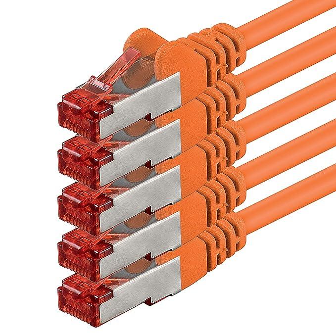 61 opinioni per 1m- Arancione- 5 Pezzi- Rete Cavi Cat6 S-FTP Cat 6 Doppia schermatura PIMF