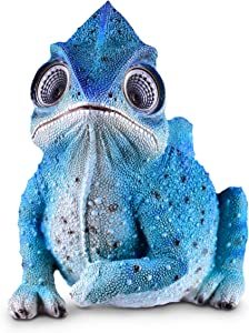 Blazin' Bison Chameleon Planter Solar Garden Decorations Figurine | Outdoor LED Decor Figure | Light Up Decorative Statue Accents for Yard, Patio, Lawn, or Deck | Great Housewarming Gift Idea (Blue)
