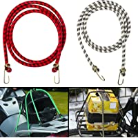 Autofy Multipurpose Ultra Flexible Bungee Rope/Luggage Strap/Bungee Cord with 15 MM Diameter and Metal Hooks (Multicolored, Set of 2)