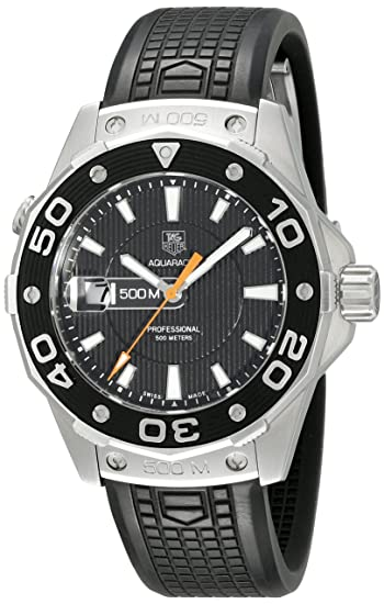 TAG Heuer WAJ1110.FT6015 - Reloj de Pulsera Hombre, Caucho, Color Negro