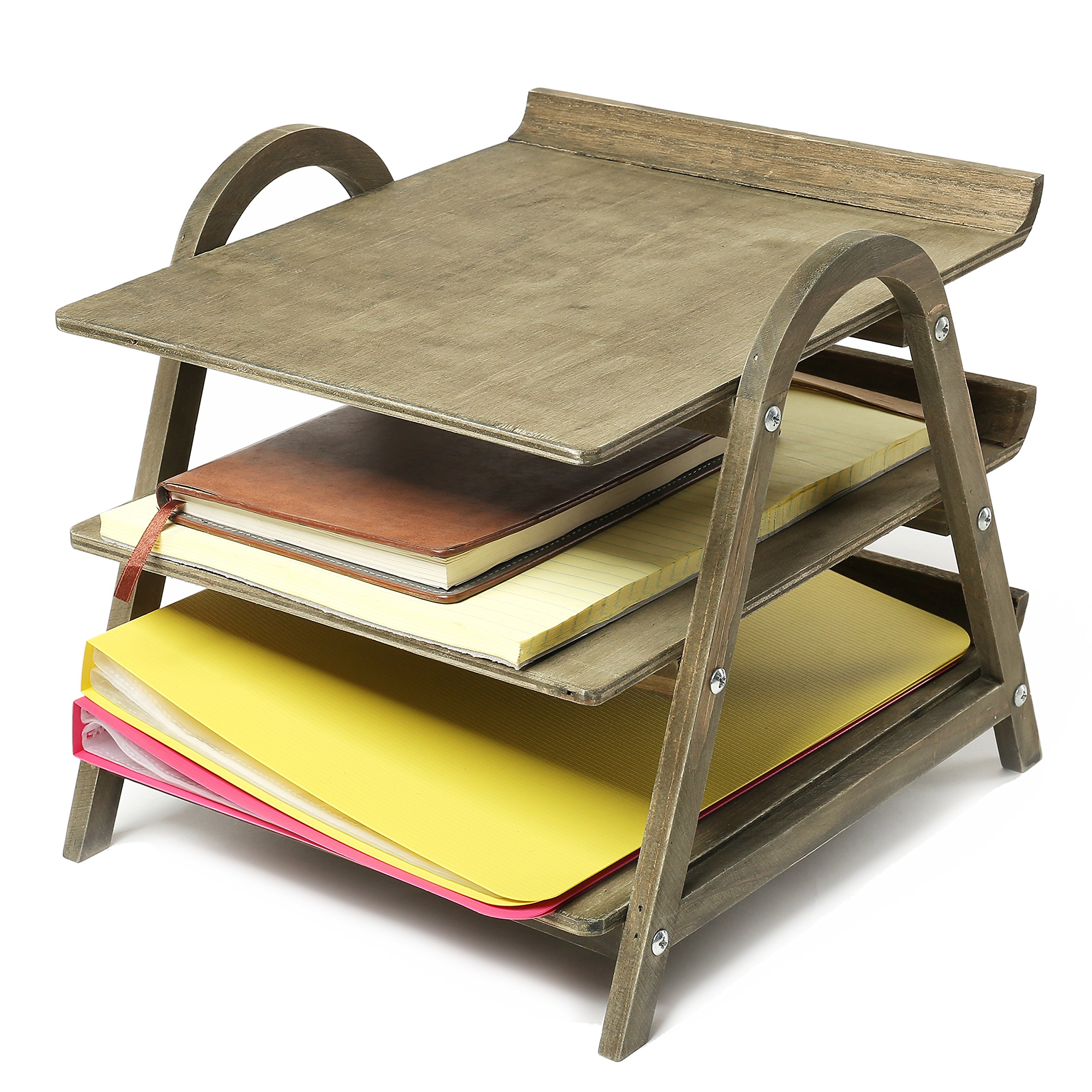 3 Tier Vintage Gray Wood Desktop Office Document Tray Holder, File Folder Rack by MyGift (Image #2)