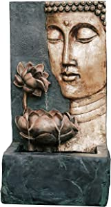 XBrand CR3012BDFTNA Indoor Outdoor Cascading Lotus Buddha Face Zen Water Fountain w/LED Light, 30 Inch Tall, Bronze and Natural Grey