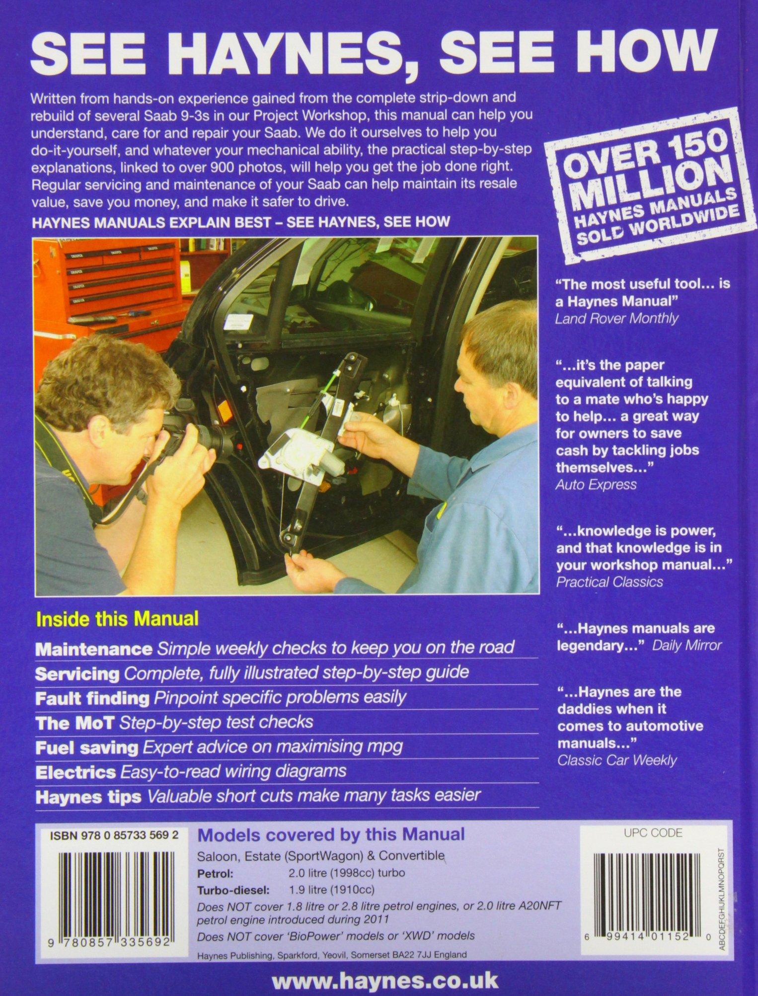 Saab 9 3 Petrol Diesel 07 11 Haynes Repair Manual Mirror Wiring Diagram Service And Manuals Anon 9780857335692 Books