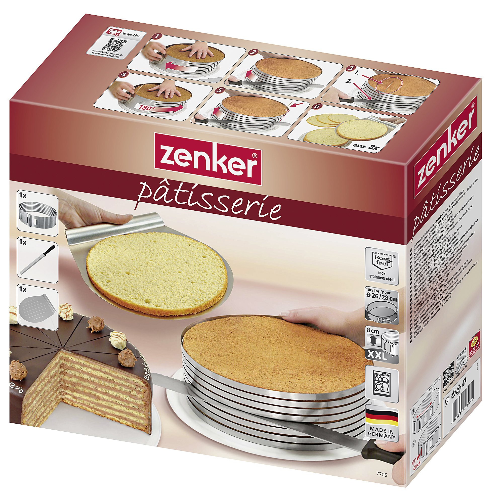 Zenker Stainless Steel Layer Cake Slicing Kit with 12'' Serrated Knife, 3-Piece by Zenker (Image #6)