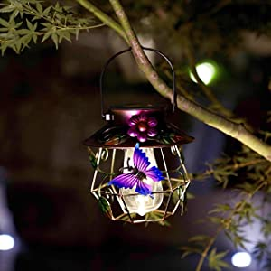 Solar Lanterns Outdoor Hanging Solar Lights Decorative for Garden Yard Patio Decor. Solar Decorations for Outdoor. (Butterfly)