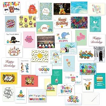 Amazon 40 Birthday Cards Assortment Happy Birthday Card Bulk