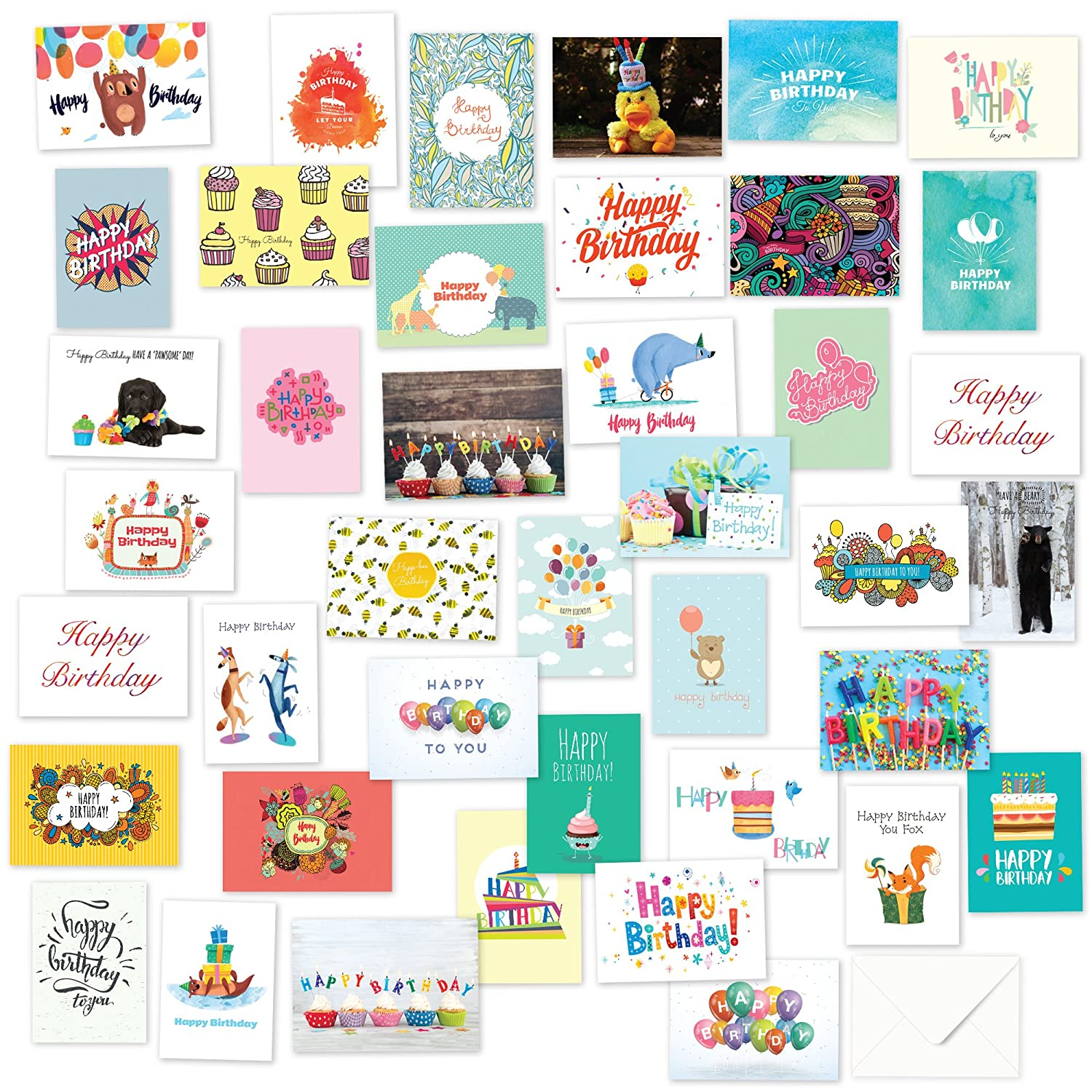 40 Birthday Cards Assortment - Happy Birthday Card Bulk Box Card Sets for Women and Men, Children and Adults - Blank Cards with Envelopes Fresh & Lucky
