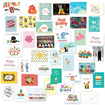 40 Different Birthday Cards Mega Pack With Envelopes Amazon