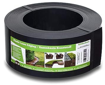 All4Gardener Bordure de Jardin en Plastique, 20 m / 120 mm (Noir)- Bordure  de Gazon Flexible - Super Fort, Utilisation Facile - Tout Nouveau Bordures  ...