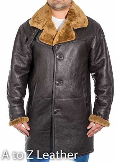 e88616cdced Mens Brown Leather Three Quarter Classic Trench Coat with Ginger Sheepskin  Fur  Amazon.co.uk  Clothing