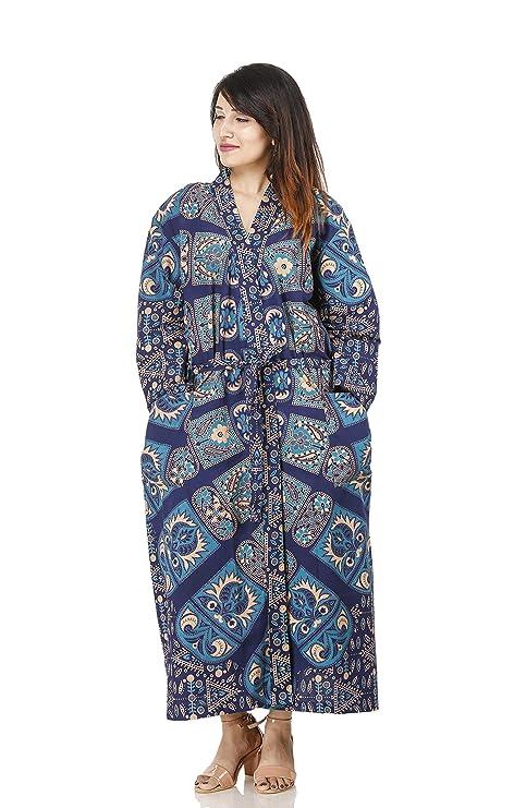 Indian Cotton Kimono Dressing Gown Bath Robe Mandala Print Intimates