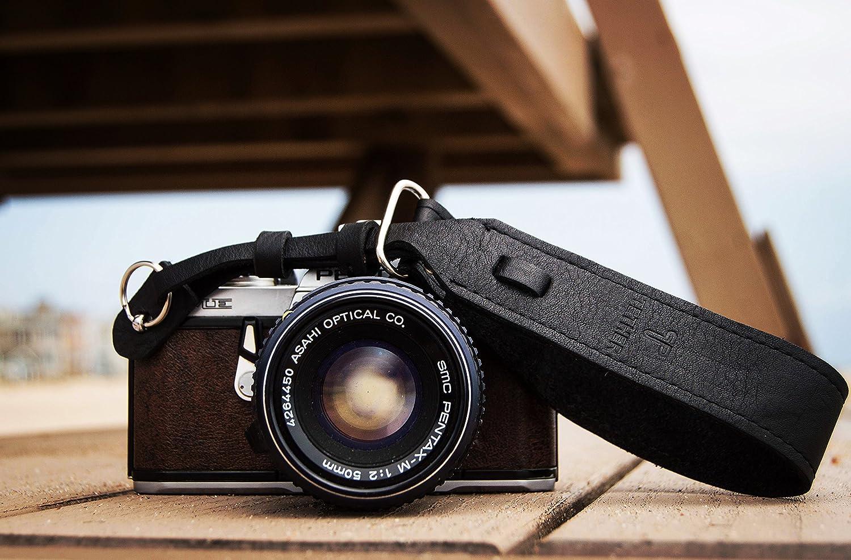 テザーブラックレザー手首カメラストラップDSLRまたはSLRカメラ、DSLRカメラストラップ。カメラアクセサリー。Canonカメラストラップ。Nikonカメラストラップ B01M60Q5Z0