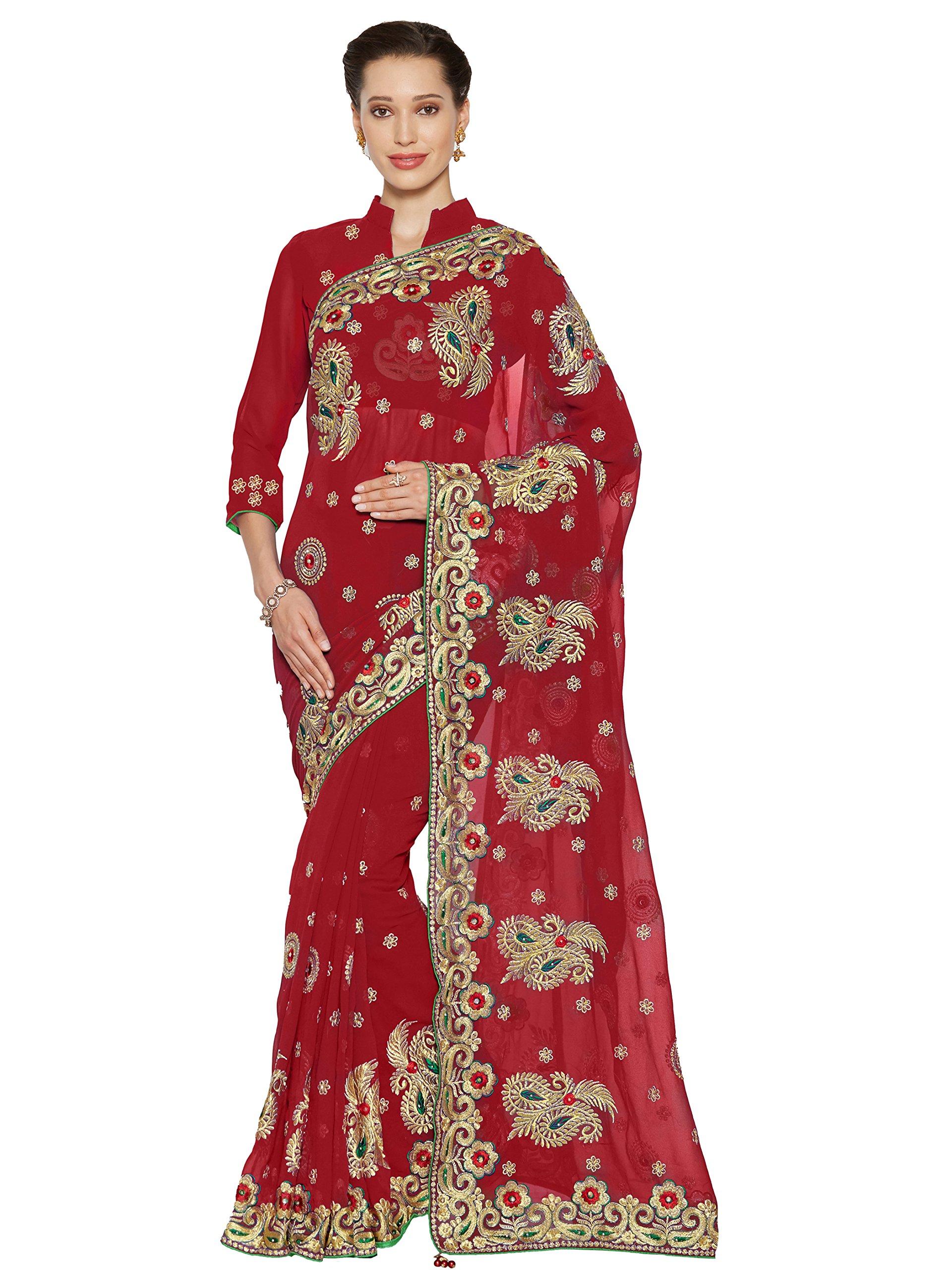 Sourbh Mirchi Fashion Women's Faux Georgette Bridal Wedding Saree (4071_Red)