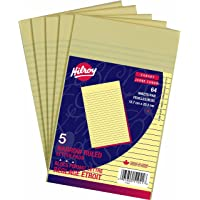 Hilroy 51041 Small Letter Pads, 5x8-Inch, Narrow Ruled, Canary, 64-Sheets Each, Pack of 5