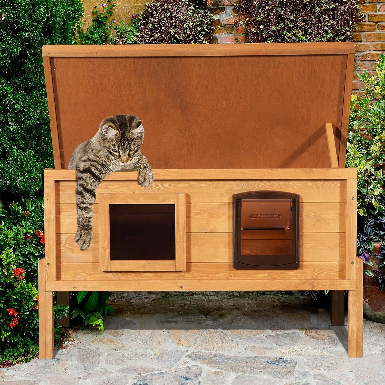 XL Externe Mikrochip selbst Heizung Katzenhütte mit One Way Privacy Fenster