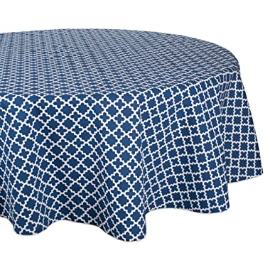 DII Round Lattice Cotton Tablecloth for Weddings, Picnics, Summer Parties and Everyday Use - 70  Round, Nautical Blue and White