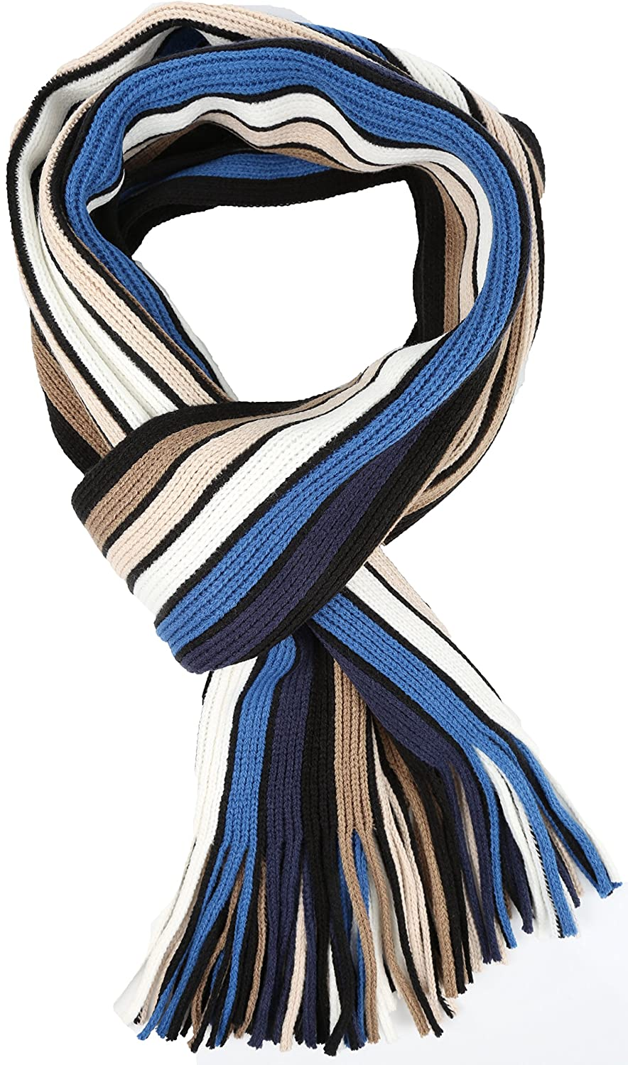 Sakkas Rhyland Striped Color Block Knitted Winter Scarf With Fringe 5055861857862