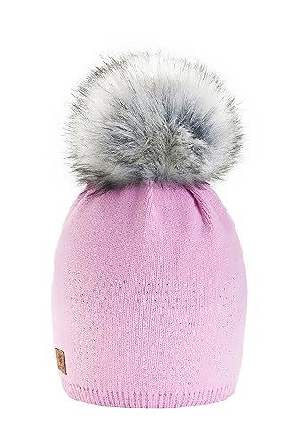 4sold - Gorro de lana de invierno para mujer, forro polar, grande, con pompón de pelo, gorro de esqu...