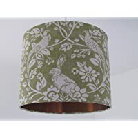 Handmade Moss Green Hare Pheasant Leaves Drum Lampshade Lightshade with Brushed Copper Metallic Lining