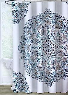 b45d0b8a3794d Amazon.com: Envogue Designer Shower Curtain Large Round Geometric ...