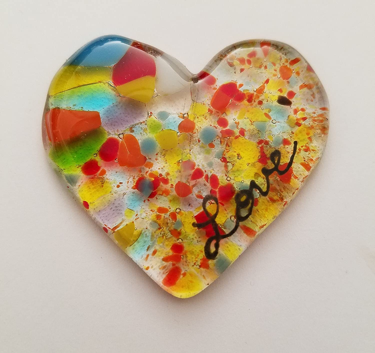 Colorful Fused Glass Heart beautiful Fathers Day Gift