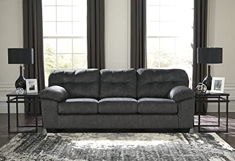 Accrington Contemporary Granite Color Padded Microfiber Sofa