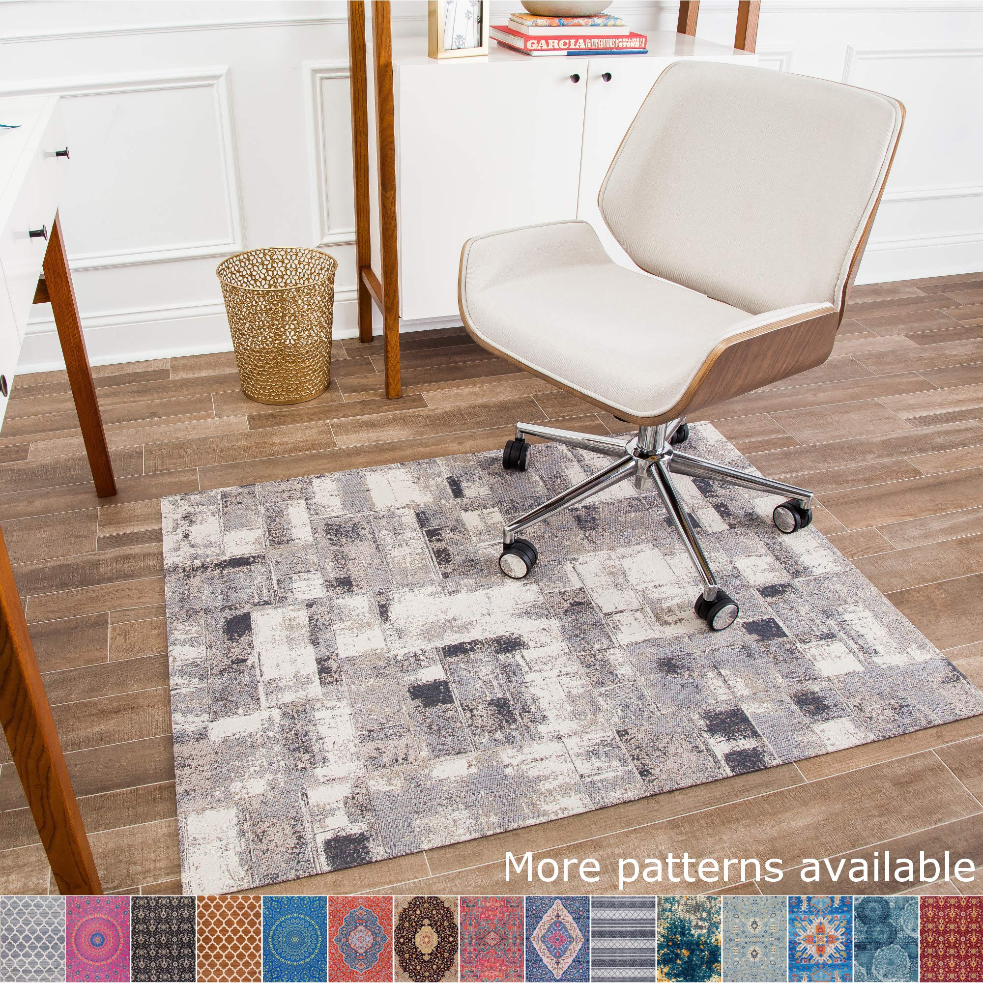 Anji Mountain Chair Mat Rug'd Collection, 1/4'' Thick - For Low Pile Carpets & Hard Surfaces, Aahus , Gray Modern Multi-Square by Anji Mountain