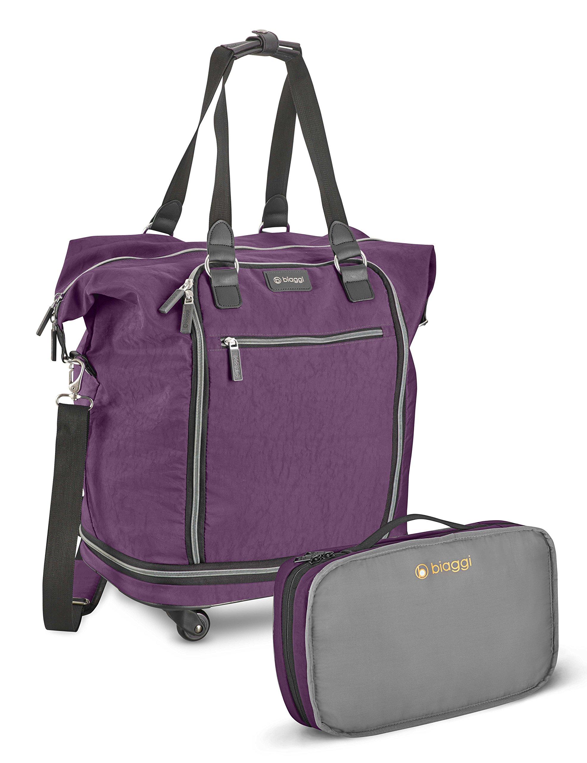 Biaggi Zipsak Micro Fold Spinner Fashion Tote - 20-Inch Luggage - As Seen on Shark Tank - Purple
