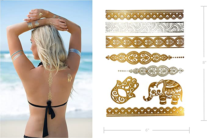 Premium metálico tatuajes – 75 + Mandala Boho diseños en oro y ...