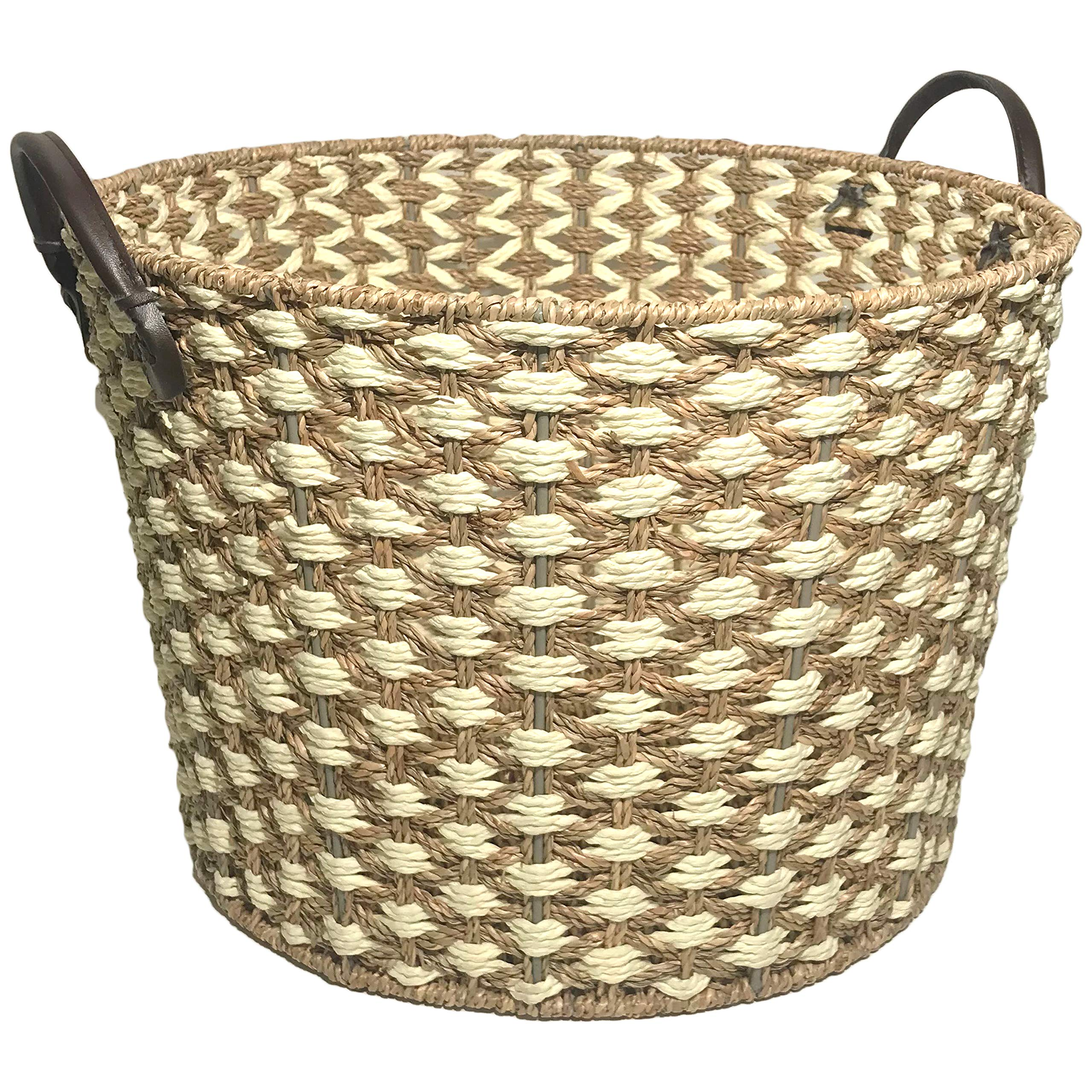 Storage Basket - Hand Woven Large Seagrass Rope Storage Baskets with Faux Leather Handles by Basket Bins
