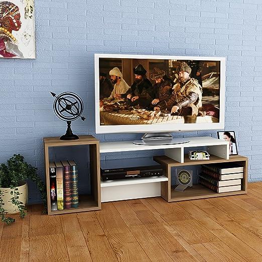 ALIDA Mueble salón comedor para televisión con 4 estante - Blanco / Nogal - Mueble bajo para televisor - Mesa de Televisión en diseño elegante: Amazon.es: Hogar
