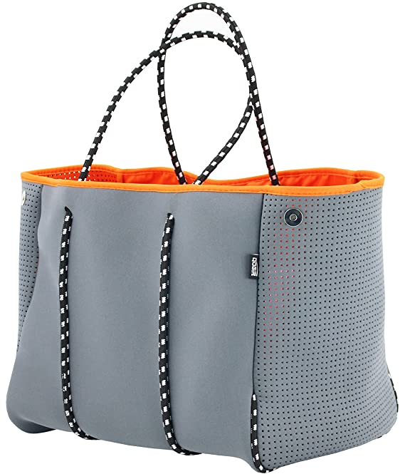 QOGiR Neoprene Multipurpose Beach Bag Tote with Inner Zipper Pocket and Movable Board (Grey, Large) best beach bag