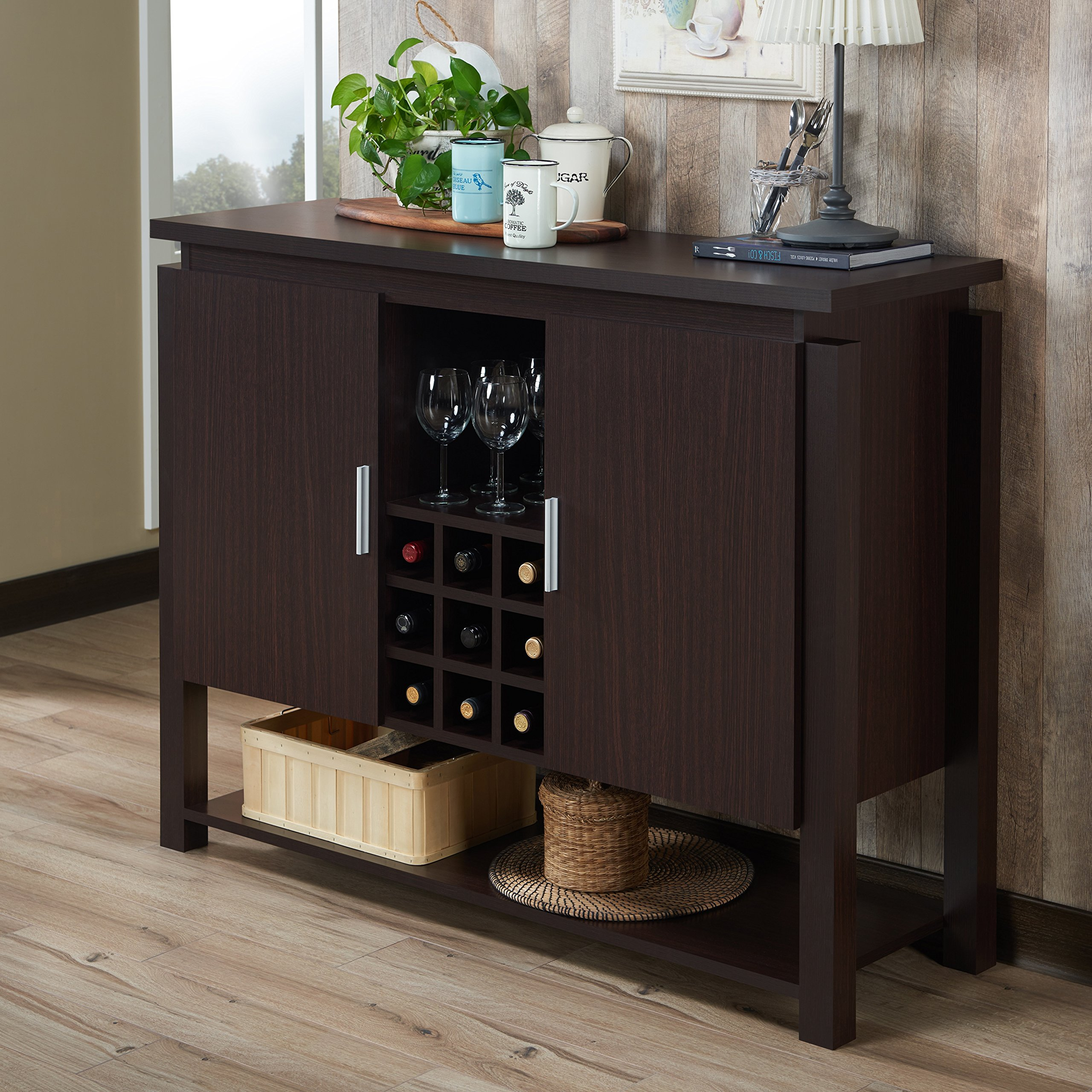 Furniture of America Celvin Contemporary Multi-Storage Walnut Buffet with Wine Cabinet