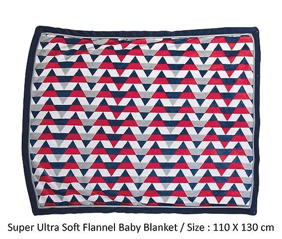 Luvlap Newborn Baby Super Ultra Soft Baby Blanket, Red Navy Stripes (110cm x 130cm)